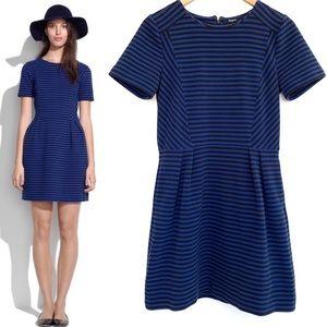 Madewell Gallerist Blue Black Stripe Ponte Dress